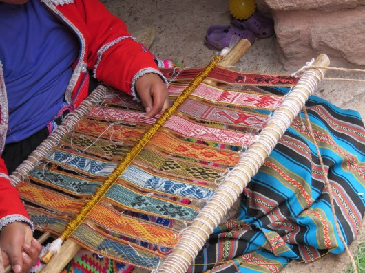 weaving traditional Peruvian designs
